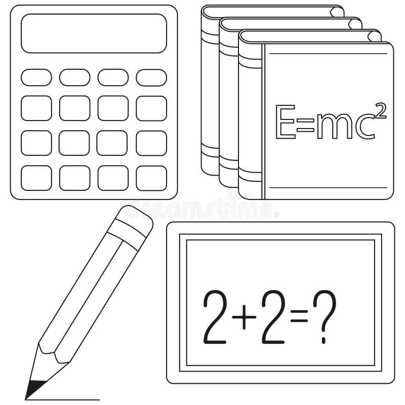 Kalkül- und Physikstudienikonensatz vektor abbildung