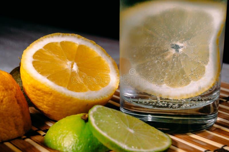 Kalk en citroenplons met ijs en wat detoxwater royalty-vrije stock afbeelding