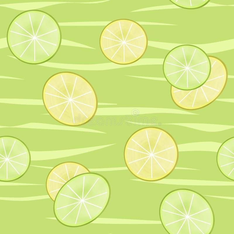 Kalk en citroenplons van het plakken de naadloze patroon op groene backgroun royalty-vrije illustratie
