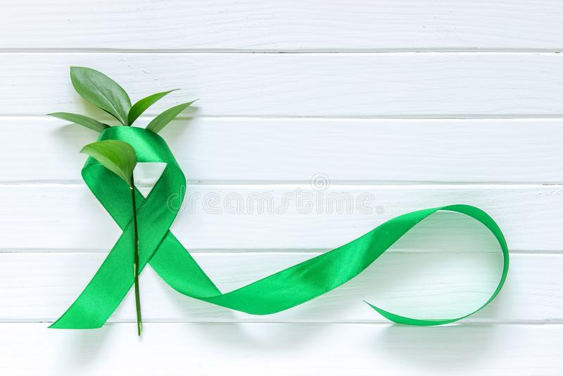 Kalk Groen Lint op witte houten achtergrond, dag van de wereld de Geestelijke gezondheid stock afbeeldingen
