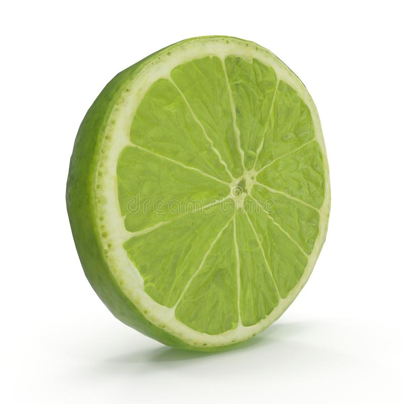 Kalk-Scheibe lokalisiert auf weißer Illustration des Hintergrund-3D stockfoto
