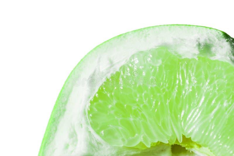 Kalka skivan, skiva av den gröna limefruktapelsinen pamela Ny citrus isolat på vit bakgrund arkivbild