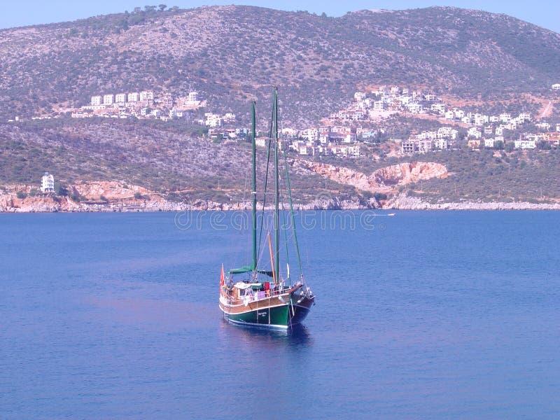 kalkan海湾的小船 库存照片