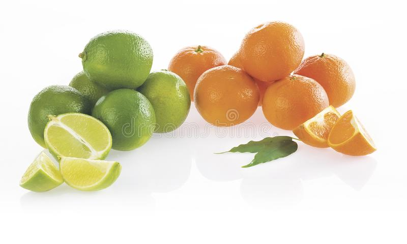 kalkar tangerines På vitbakgrund arkivfoto