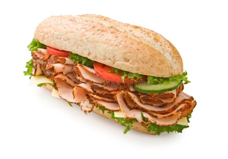 kalkon för bröstostsmörgåstomater royaltyfria foton