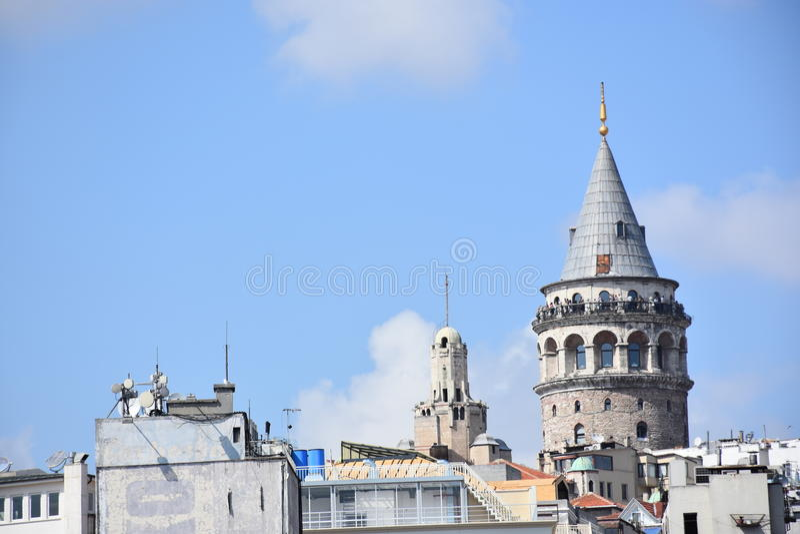 kalkon för galataistanbul torn royaltyfria bilder