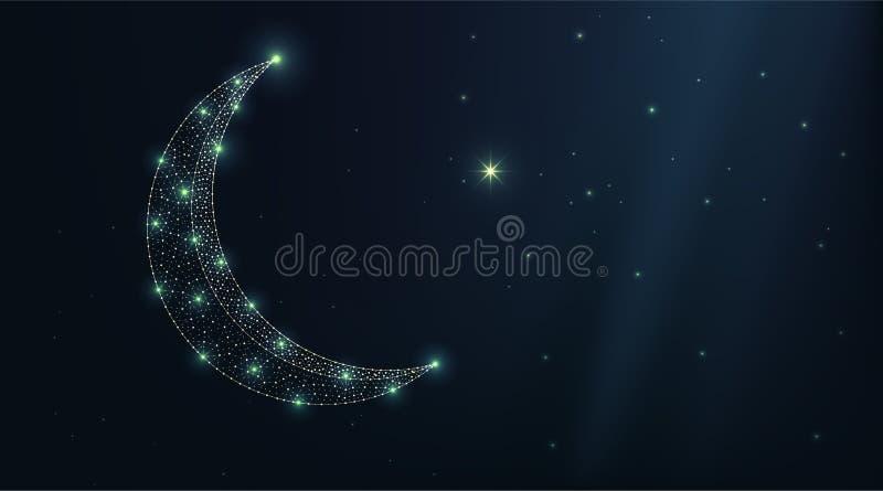 Kalkonmåne och stjärna för vektor lyxig på en natthimmel Mörk bakgrund för abstrakta låga polygonal wireframepartiklar Designkons royaltyfri illustrationer