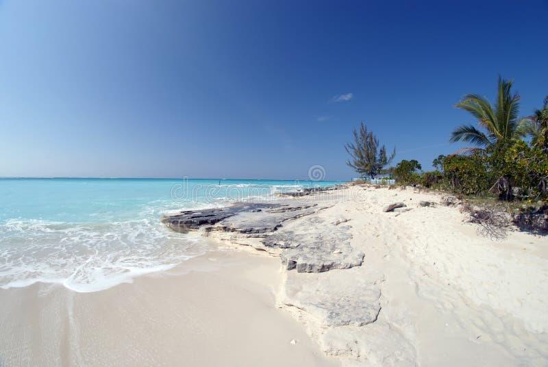 Kalksteenrots op het strand royalty-vrije stock afbeeldingen