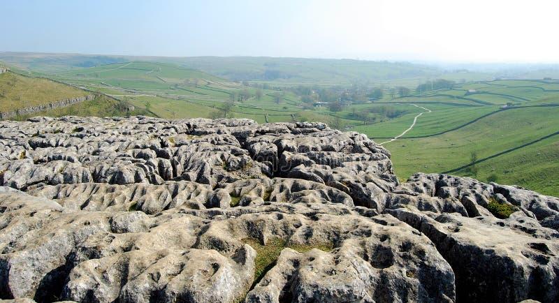 Kalksteinbeschaffenheit auf die Oberseite der Malham Bucht (Großbritannien) stockbild