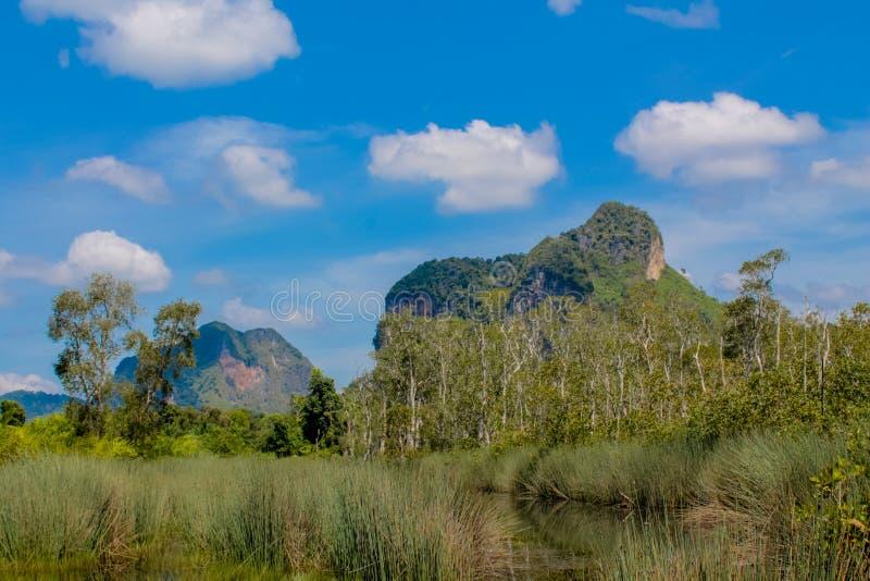 Kalksteinfelsenklippe in Krabi-Bucht, Bucht AO Nang, Railei und Tonsai setzen Thailand auf den Strand lizenzfreie stockfotografie