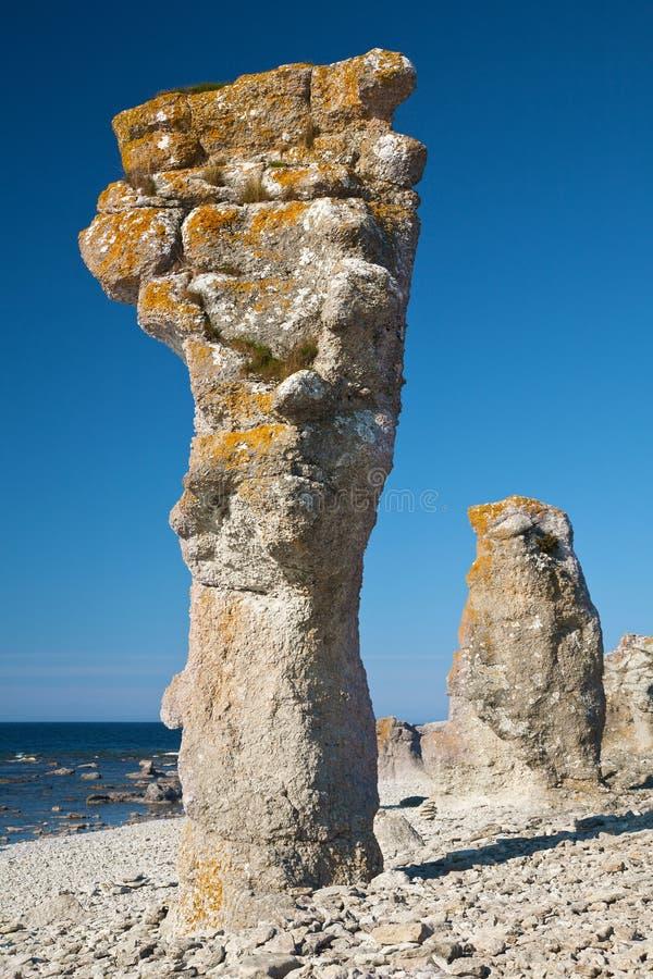 Kalksteinpfosten in Gotland-Insel lizenzfreies stockbild