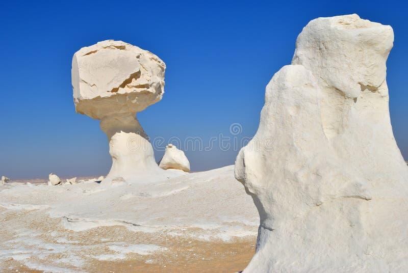 Kalkstenbildandet i den vita öknen Sahara Egypt arkivbild