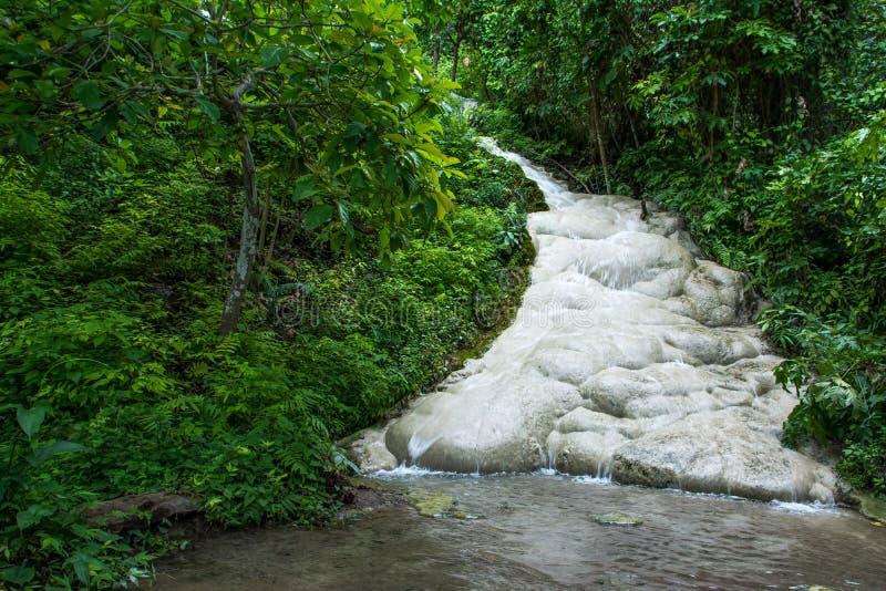 Kalkstenvattenfall i djungeln Thailand kalkstenvattenfall royaltyfria bilder