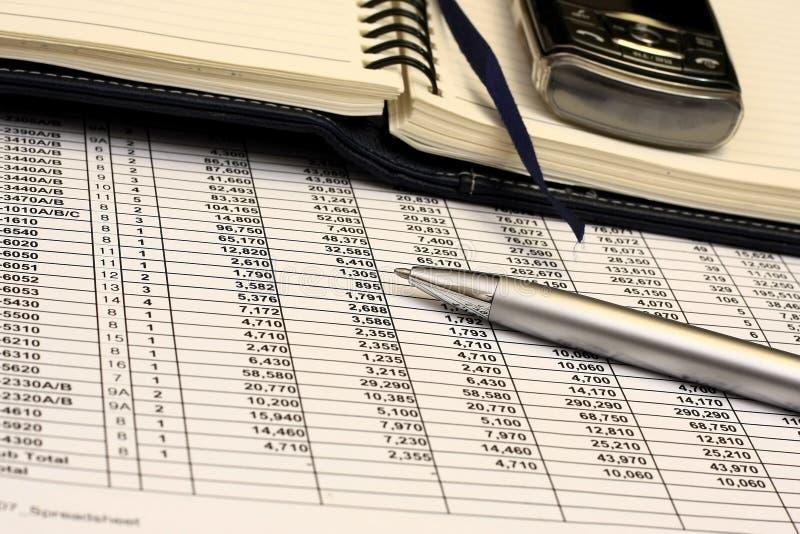 Kalkulationstabelle lizenzfreies stockbild