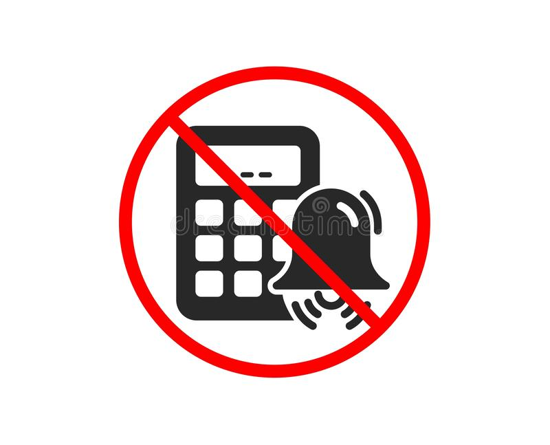 Kalkulator alarmowa ikona Rozlicza? znaka wektor ilustracja wektor
