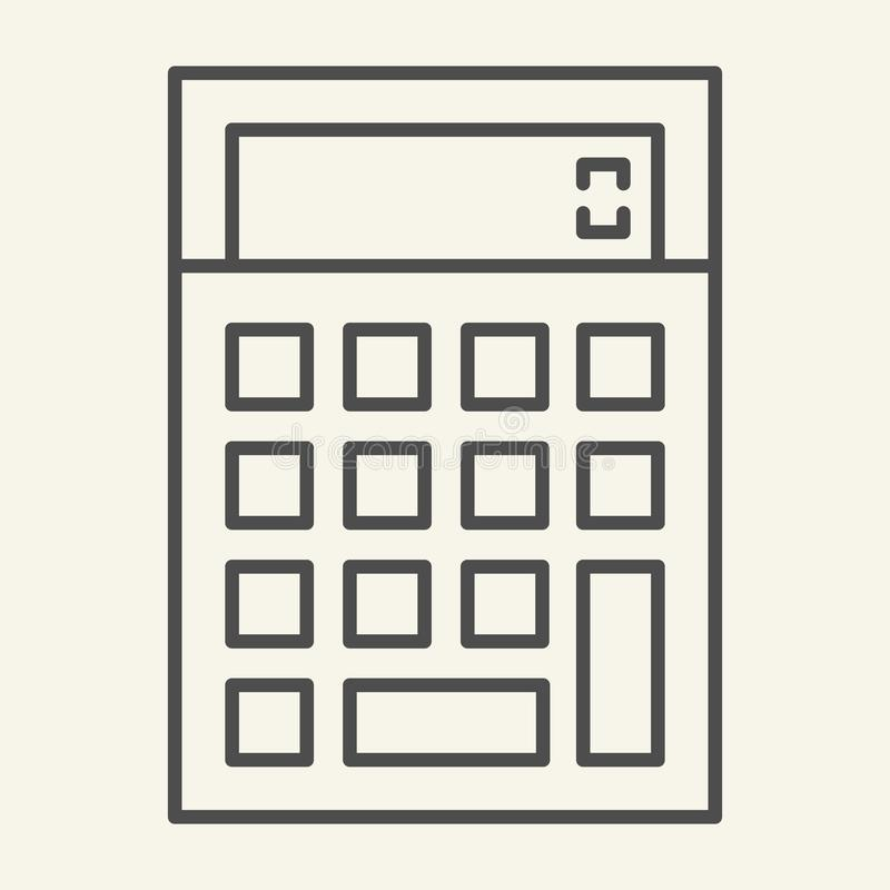 Kalkulator cienka kreskowa ikona Księgowości wektorowa ilustracja odizolowywająca na bielu Kalkuluje konturu stylu projekt, proje ilustracji