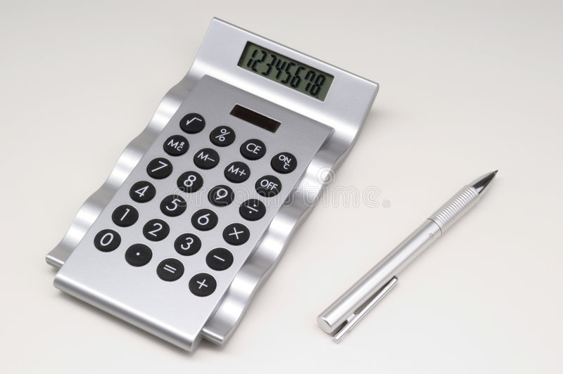 kalkulator długopis. fotografia stock