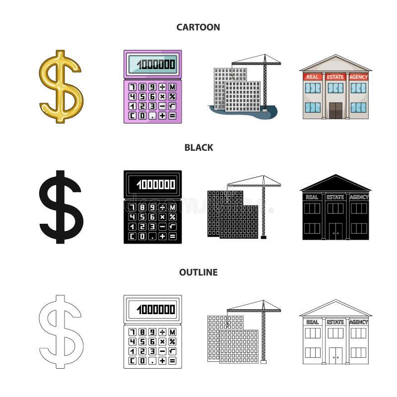 Kalkulator, dolarowy znak, nowy budynek, nieruchomości biura Pośrednik handlu nieruchomościami ustalone inkasowe ikony w kreskówc ilustracji