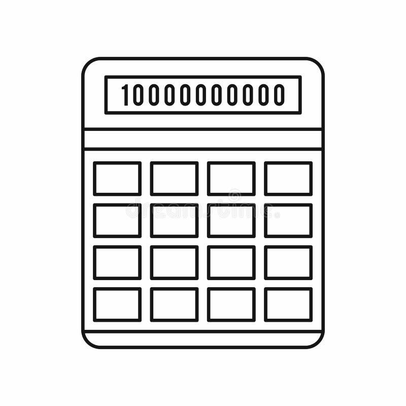 Kalkulator ikona, konturu styl royalty ilustracja
