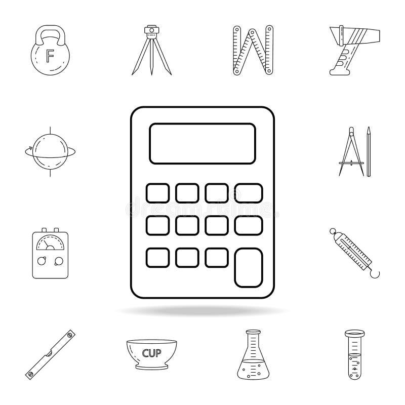 Kalkulator ikona Szczegółowy set pomiarowych instrumentów ikony Premia graficzny projekt Jeden inkasowe ikony dla stron interneto royalty ilustracja