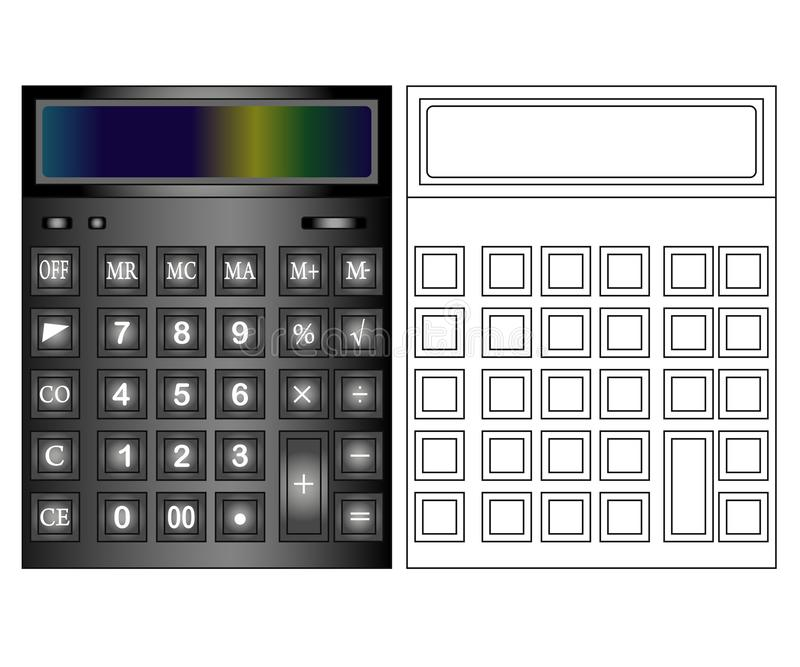 Kalkulator ikona w mieszkanie stylu Kalkulator odizolowywaj?cy na barwionym tle royalty ilustracja