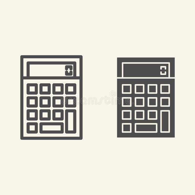 Kalkulator linia i glif ikona Księgowości wektorowa ilustracja odizolowywająca na bielu Kalkuluje konturu stylu projekt ilustracja wektor