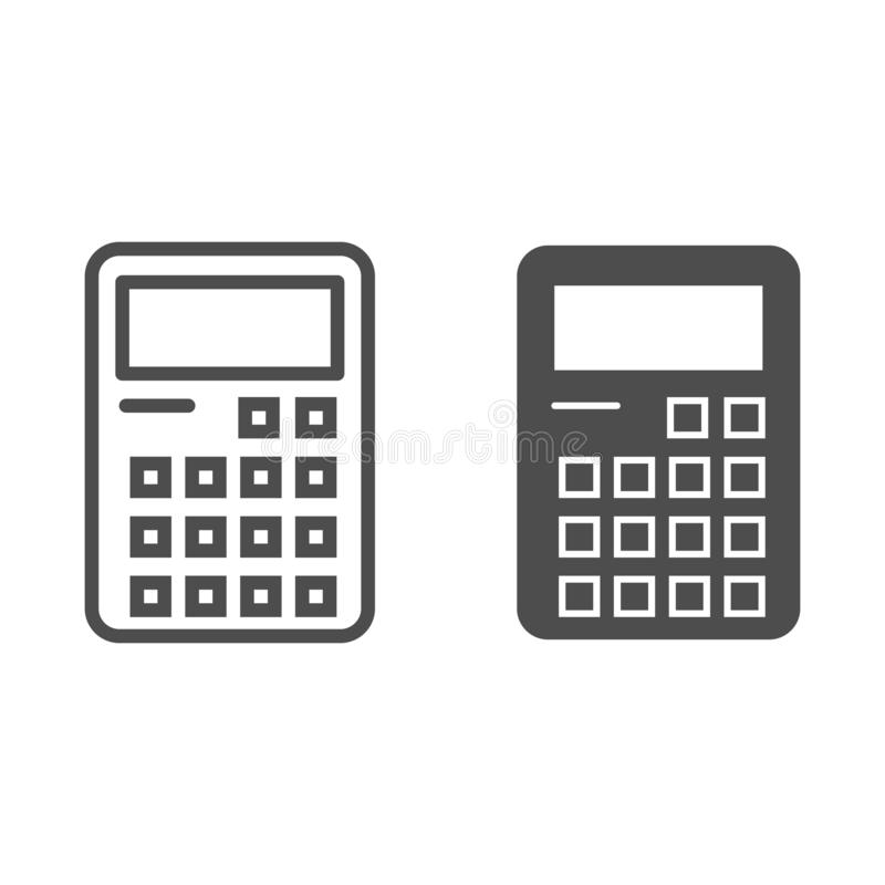 Kalkulator linia i glif ikona Rozliczający szyldową wektorową ilustrację odizolowywającą na bielu Kalkulacyjny konturu stylu proj ilustracji