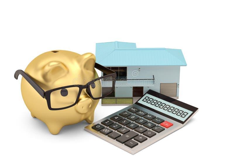 Kalkulator, prosiątko dom na białym tle i bank i 3d illus ilustracji