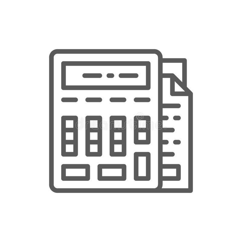 Kalkulator z dokumentami, księgowość, rozlicza kreskową ikonę ilustracji