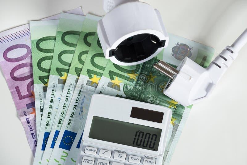 Kalkulator Z Elektryczną prymką Z Euro banknotami zdjęcie royalty free