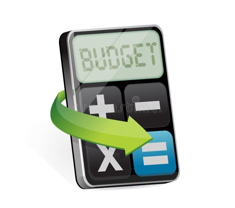 Kalkulator z słowo budżetem na pokazie ilustracja wektor