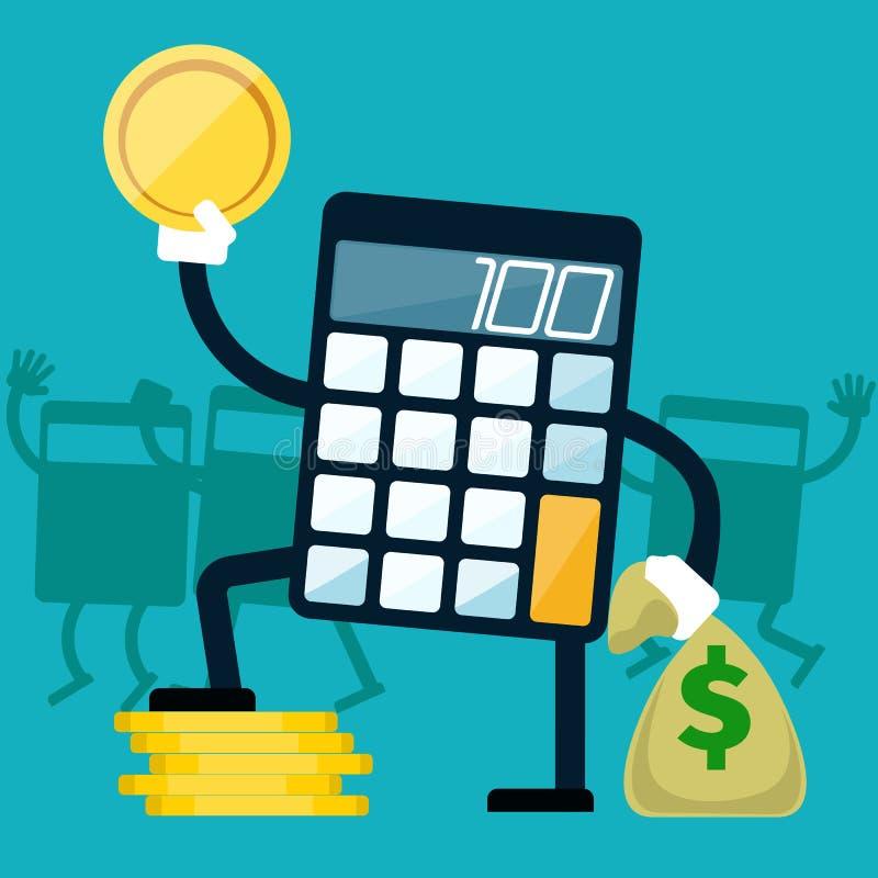 Kalkulator z złotą monetą w ręce ilustracja wektor