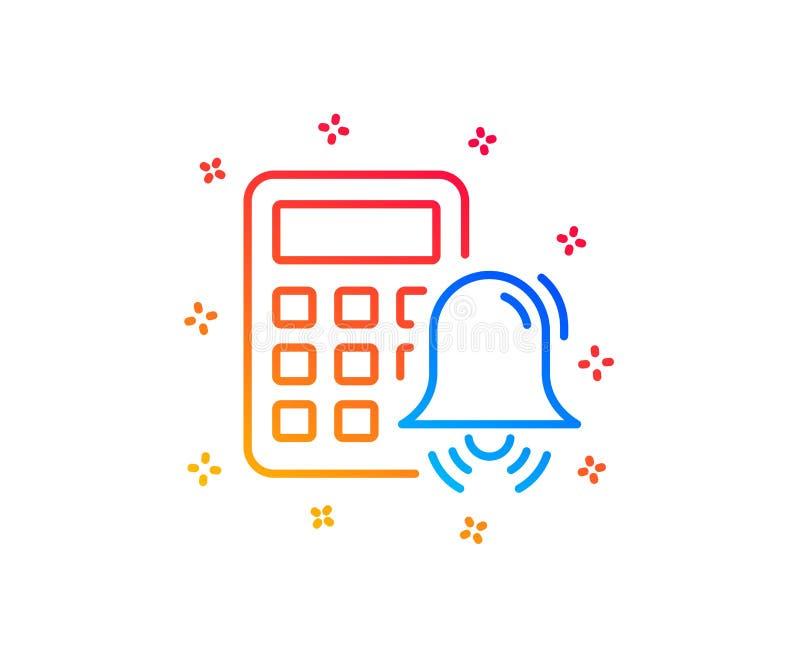 Kalkulatora alarma linii ikona Rozlicza? znaka wektor royalty ilustracja