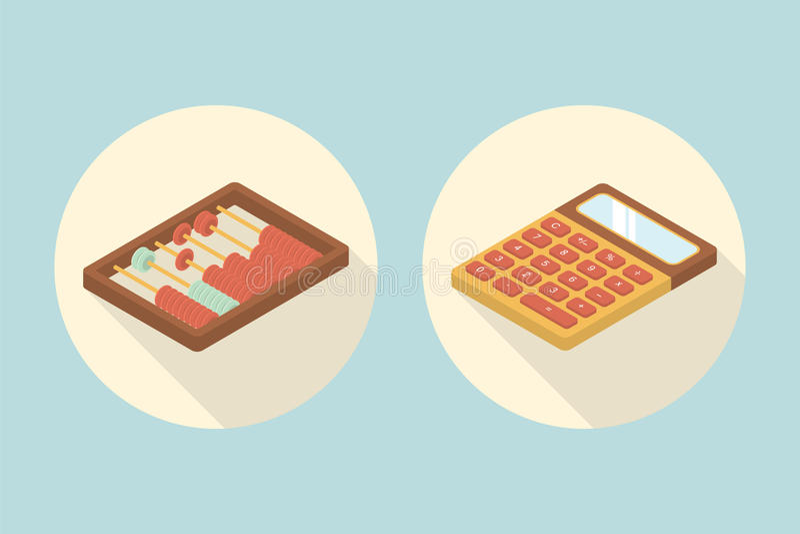 Kalkulatora I abakusa Kalkulacyjna Płaska ikona Z Długim cieniem ilustracja wektor