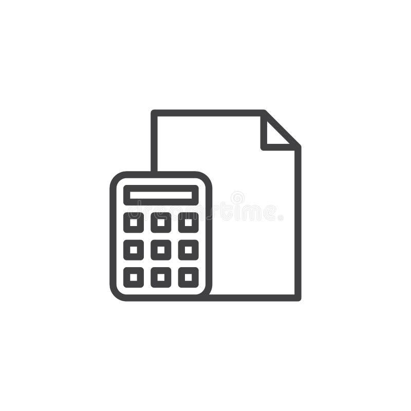 Kalkulatora i papierowego dokumentu linii ikona ilustracja wektor