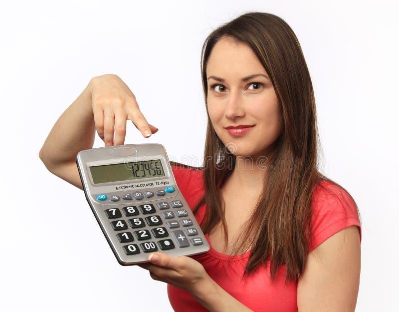 kalkulatora mienia kobiety potomstwa zdjęcia royalty free