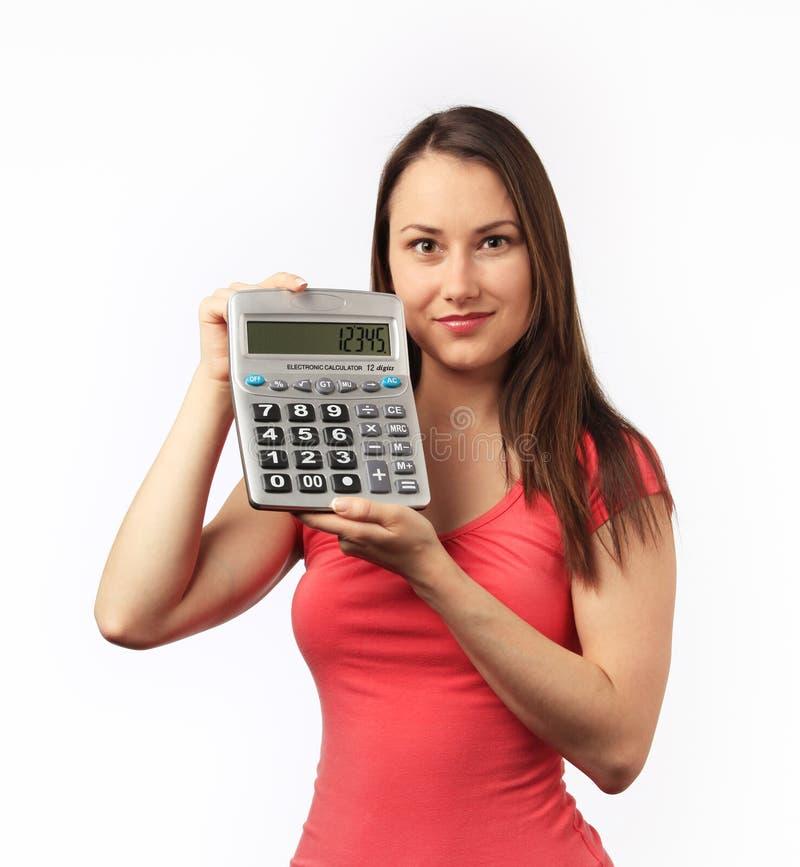 kalkulatora mienia kobiety potomstwa obraz royalty free