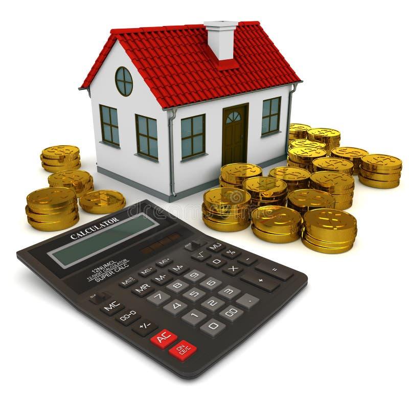kalkulatora monet złota domu sterty ilustracja wektor