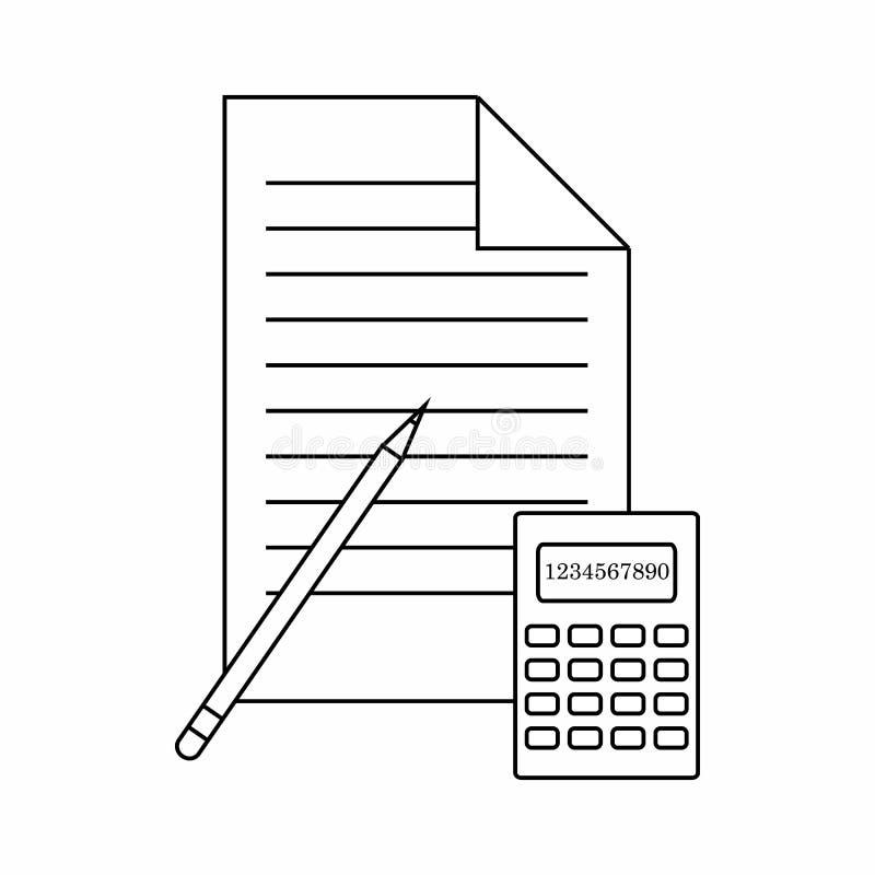 Kalkulatora, ołówka i papieru ikona, cienki kreskowy styl ilustracja wektor