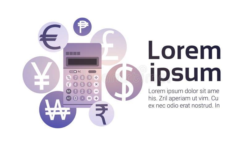 Kalkulatora pieniądze wymiany finanse bankowości waluta royalty ilustracja