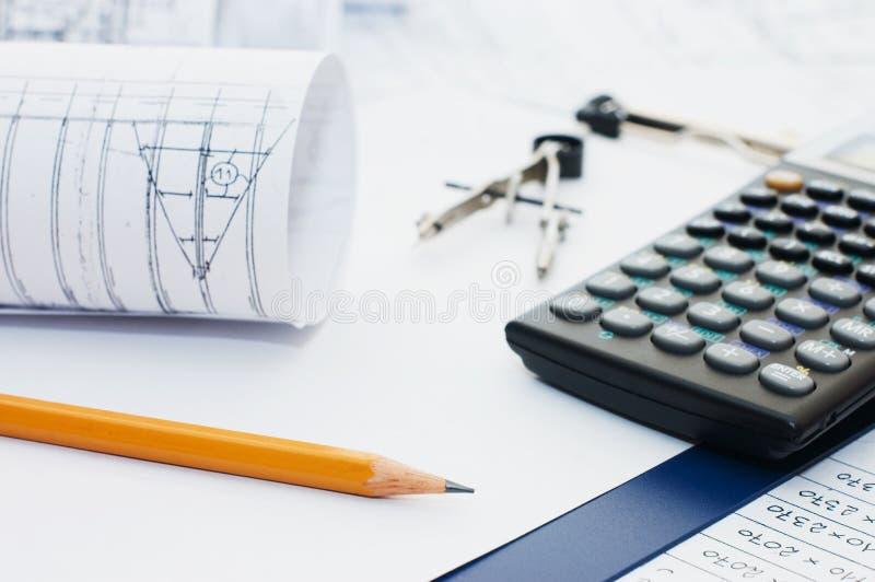 kalkulatora schowka ołówek fotografia stock
