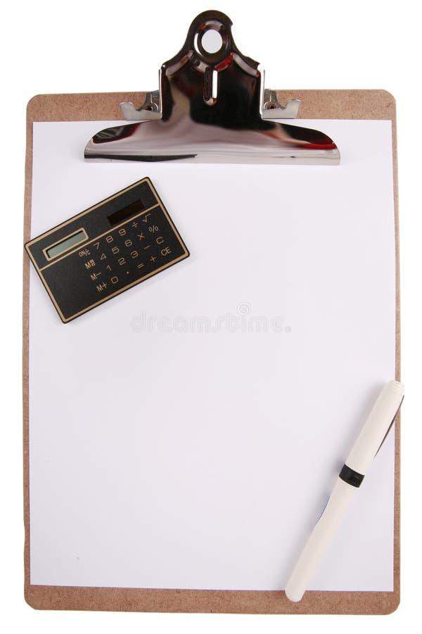 kalkulatora schowka papieru pióro zdjęcie stock