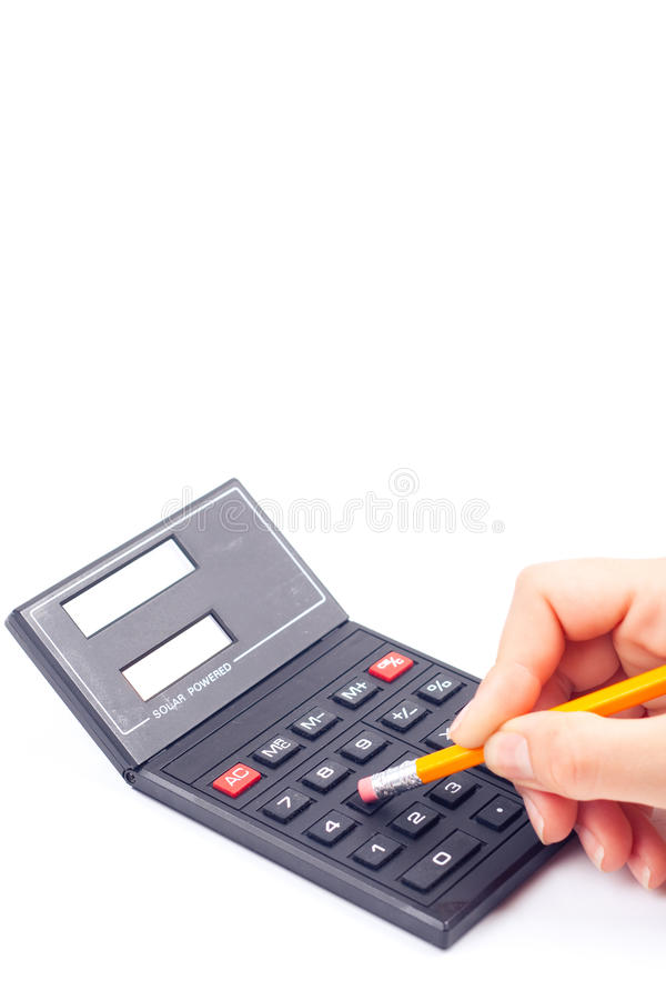 kalkulatorska żeńska ręka zdjęcia stock