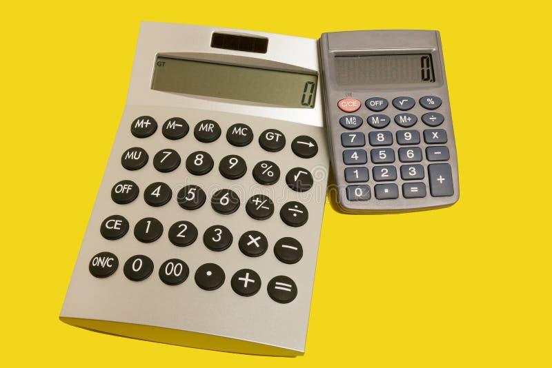 Kalkulatorzy na kolor żółty powierzchni obraz royalty free