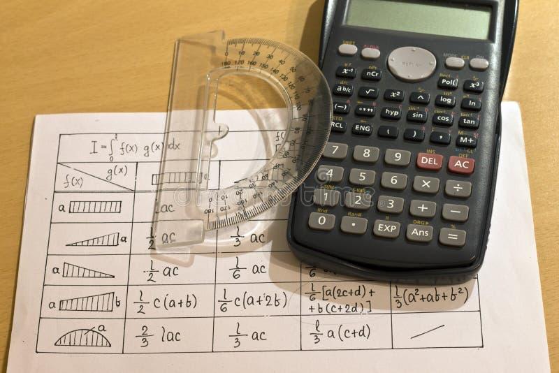 Kalkulatorzy, spreadsheets, kątomierz obrazy stock