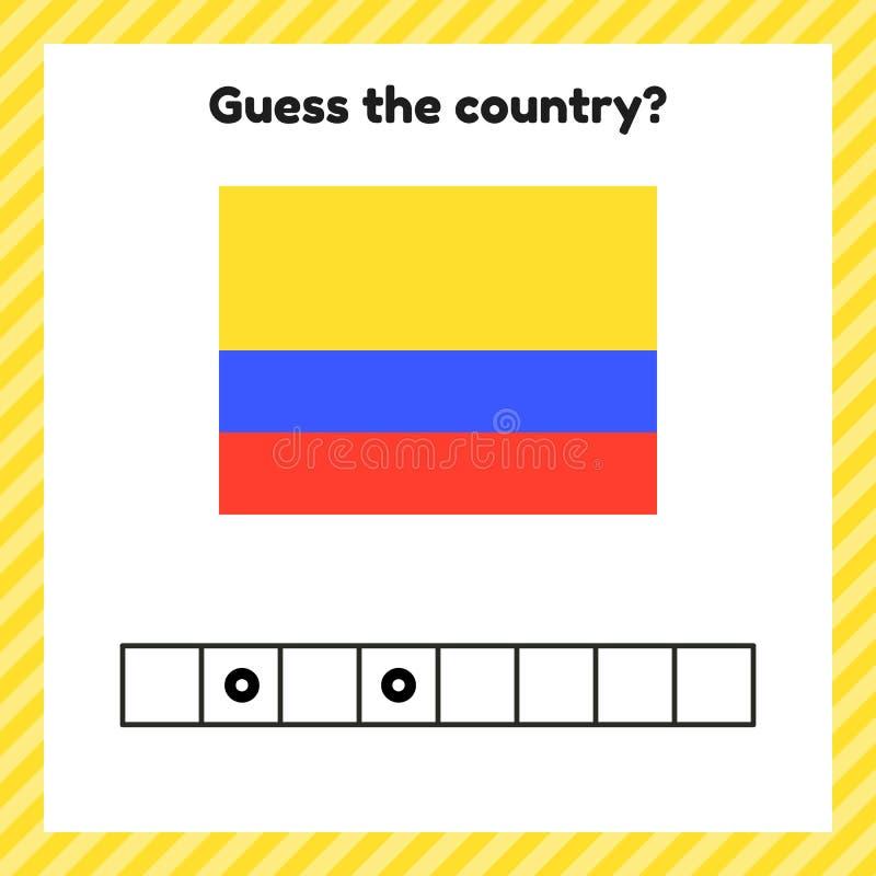 Kalkylblad om geografi för förskole- och skolbarn Lösenord Colombia-flagga Minska landet stock illustrationer