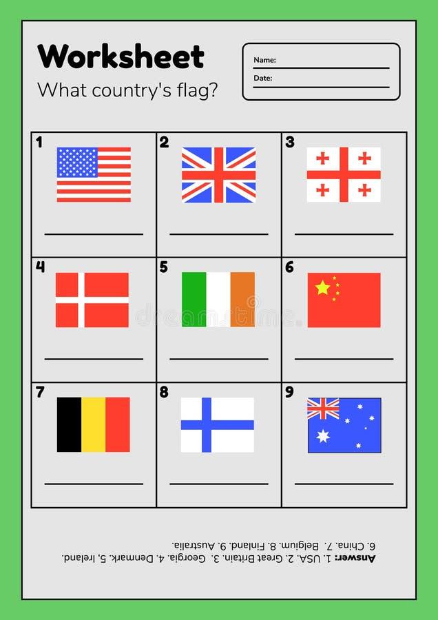 Kalkylblad om geografi för förskole- och skolbarn Vilket lands flagga Med svar royaltyfri illustrationer