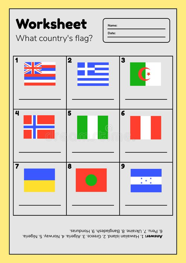 Kalkylblad om geografi för förskole- och skolbarn Vilket lands flagga Med svar vektor illustrationer