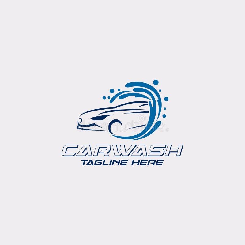 Kall blå mall för biltvättlogodesign Redigerbar vektorlogotyp royaltyfri illustrationer