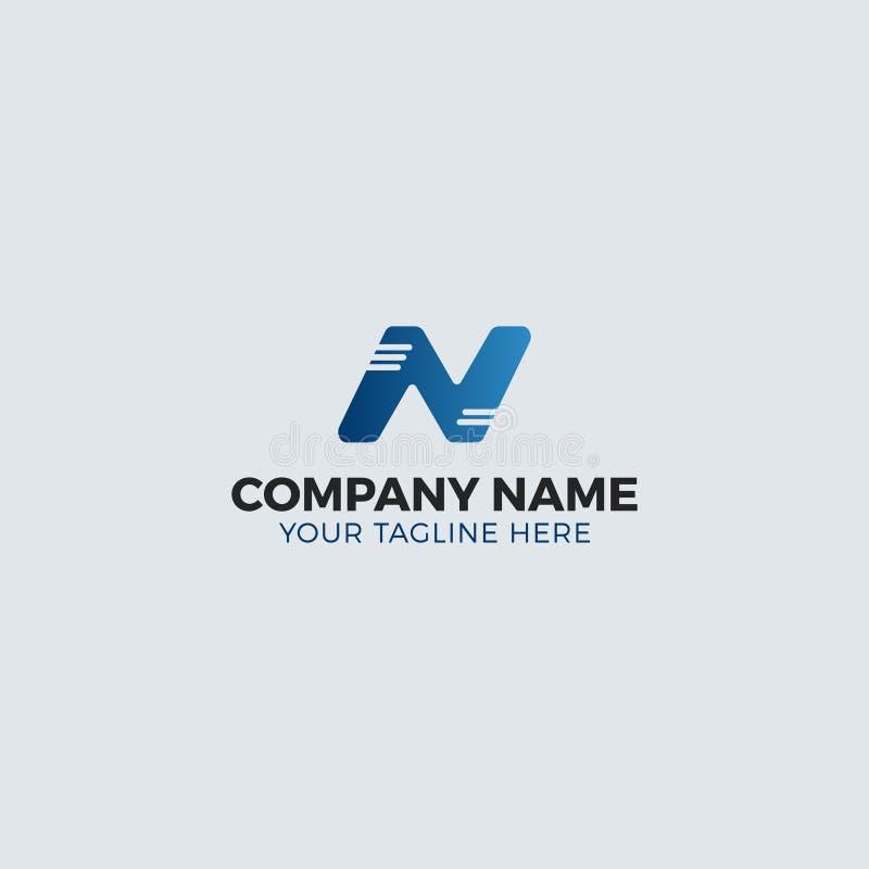 Kall blå n-bokstavslogo som är redigerbar för någon affär eller service royaltyfri illustrationer